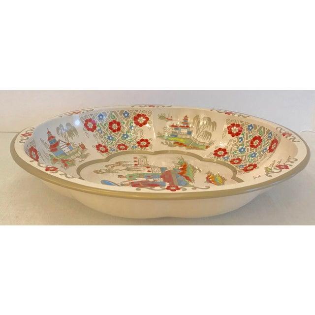 Orange Vintage Oriental Theme English Tin Bowl For Sale - Image 8 of 9