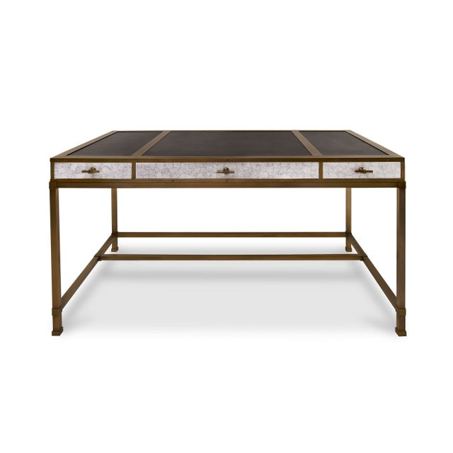 Steven Gambrel Collection Gambrel Desk in Eggshell / Burnished Brass For Sale - Image 4 of 4
