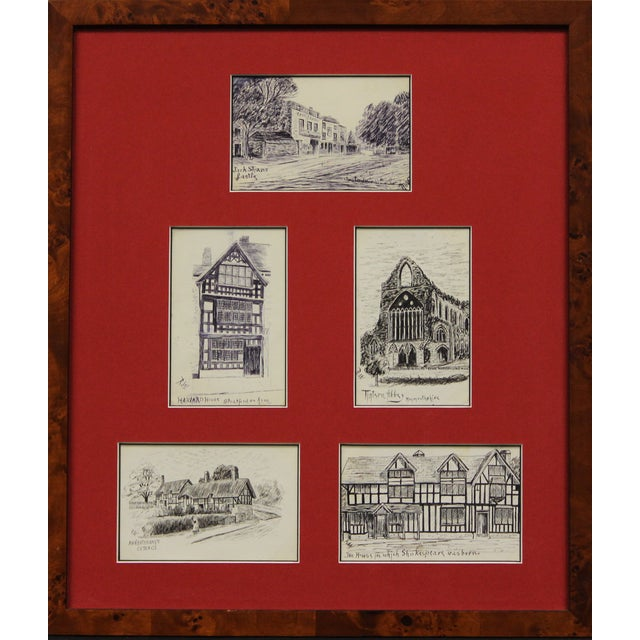 Five Postcard Pen & Ink Drawings, Circa 1910 For Sale