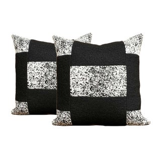 Black and White Color Block Wool Pillows - a Pair For Sale