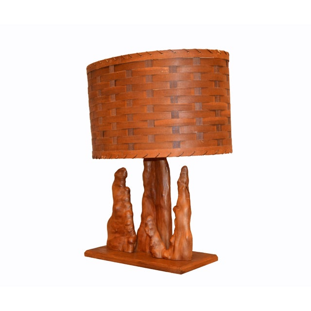 Organic Modern Sculptural Driftwood Table Lamp & Woven Basket Shade Walnut Base For Sale - Image 4 of 10