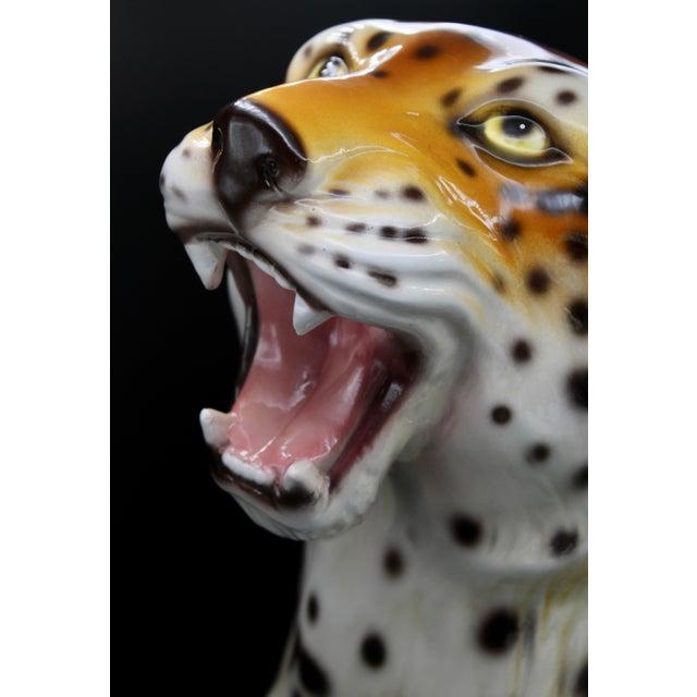 Monumental Italian Ceramic Leopard Statue For Sale - Image 10 of 13