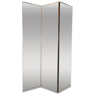 American Mid-Century Modern Monumental Three-Panel Mirrored Screen For Sale