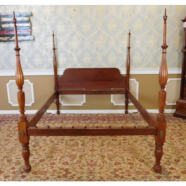 Antique 19th Century Post Mahogany Custom Crafted Queen Size 4 Poster Bed For Sale