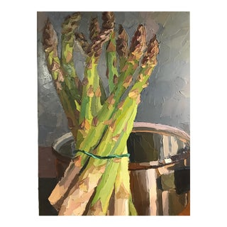 Late 20th Century Still Life With Asparagus Impasto Oil Painting
