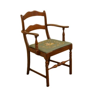 1940's Antique Duncan Phyfe Mahogany W/ Needlepoint Seat Arm Chair For Sale