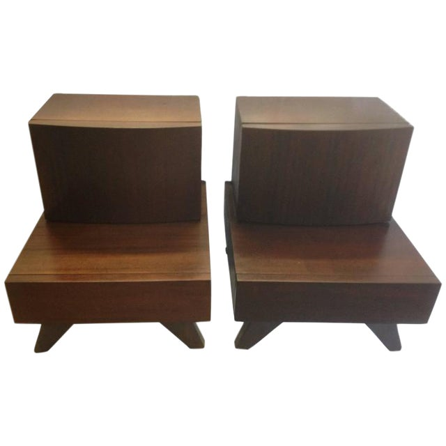 Mid-Century Wooden Bedside / End Tables - A Pair - Image 1 of 3
