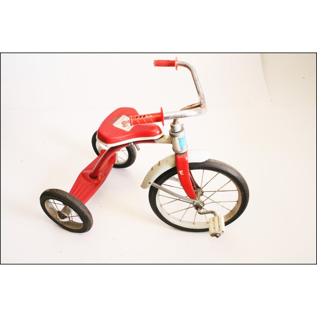 Vintage Red Metal Child's Tricycle For Sale - Image 4 of 11