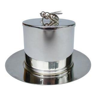 C.1960s Brazilian Silver Plate Bumble Bee Lidded Serving Dish, Honey Pot Server by Soppil Wolff - 3 Pieces For Sale