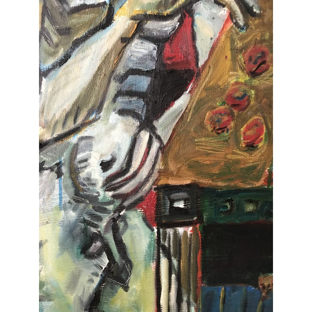 """Red Vintage Original Painting Early Work of Paul Rinaldi """"Man Playing Checkers"""" For Sale - Image 8 of 10"""