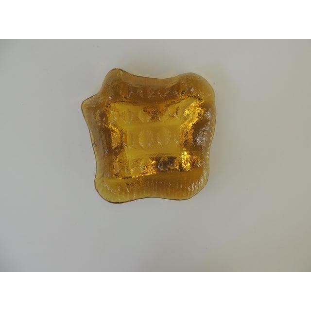 Orange 1970s Brutalist Blenko Amber Biomorphic Glass Bowl For Sale - Image 8 of 12