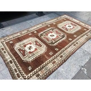 1960s Vintage Handmade Turkish Bohemian Wool Rug- 4′5″ × 8′4″ Preview