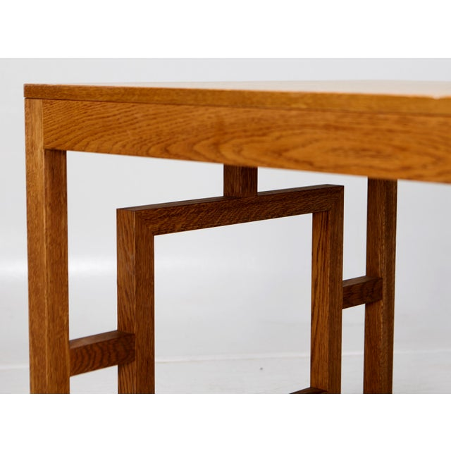 Contemporary Long Oak Desk Table With Side Geometrical Design For Sale - Image 3 of 5