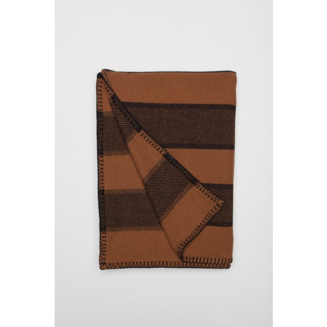 Contemporary Emu Parri Lambswool Angora Throw, Brown Stripe For Sale - Image 3 of 3