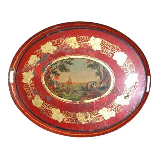 19th C. Empire Red Tole Tray For Sale