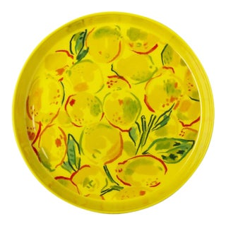 Kenneth Ludwig Chicago Lemons Metal Painted Tray For Sale