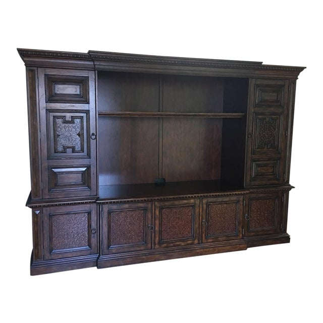 British Colonial Hardwood & Veneer Entertainment Console with Hutch Towers - Image 1 of 9