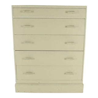Kittinger White Painted Tall 5 Drawers Chest Dresser