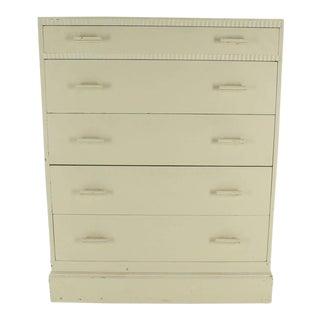Kittinger White Painted Tall 5 Drawers Chest Dresser For Sale