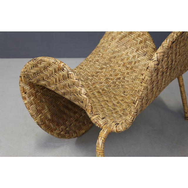 Italian Mid-Century Armchairs in Beige Colored Rattan, 1950s For Sale - Image 9 of 12