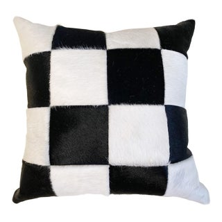 "Black and White Patchwork Cowhide Pillow, 24"" For Sale"