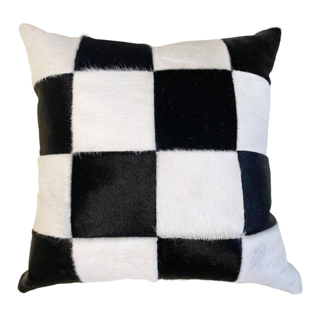 """Black and White Patchwork Cowhide Pillow, 24"""" For Sale"""
