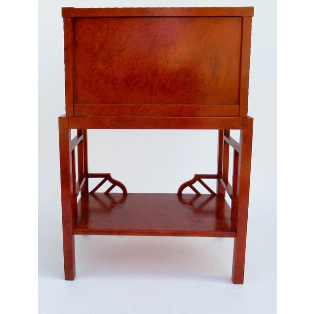 C.1970s Vintage Chinoiserie Orange Lacquered Nightstand, Side/End Reading Table by Thomasville For Sale - Image 11 of 13