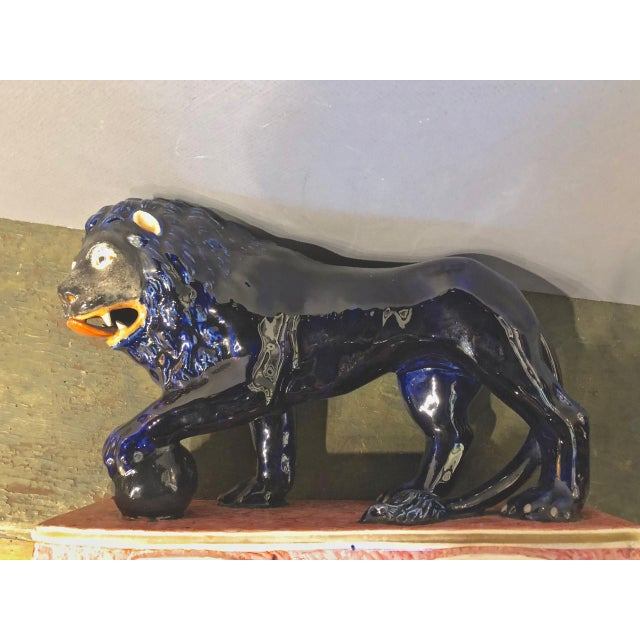 Ceramic Blue Stafford Lion Figurine For Sale - Image 7 of 8