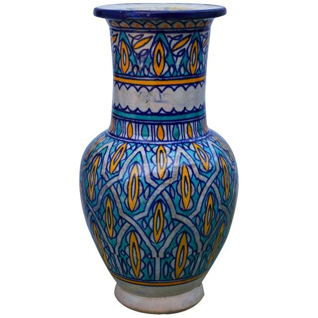Blue Antique Moorish Ceramic Vase For Sale - Image 8 of 8