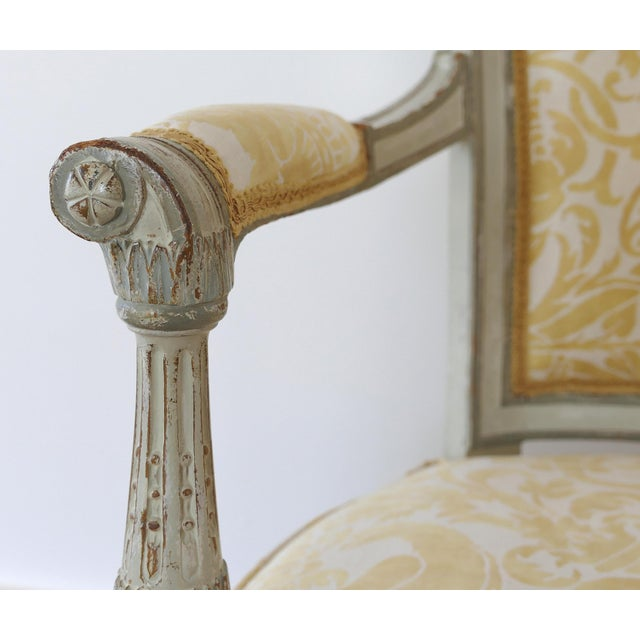 Late 19th Century Antique Swedish Painted Armchairs With Fortuny Fabric - a Pair For Sale - Image 5 of 13