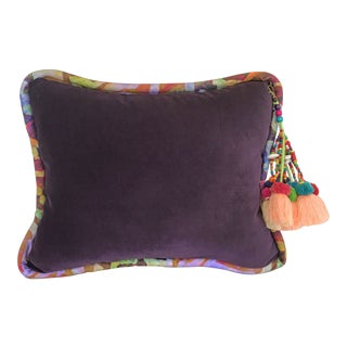 Tasseled Purple Velvet Pillow For Sale