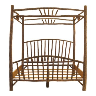 Late 20th Century American Rustic Old Hickory Four-Poster Bed For Sale