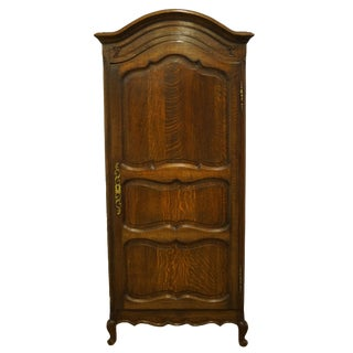 "1940's Vintage Antique Solid Walnut 35"" Italian Provincial Wardbobe / Armoire For Sale"