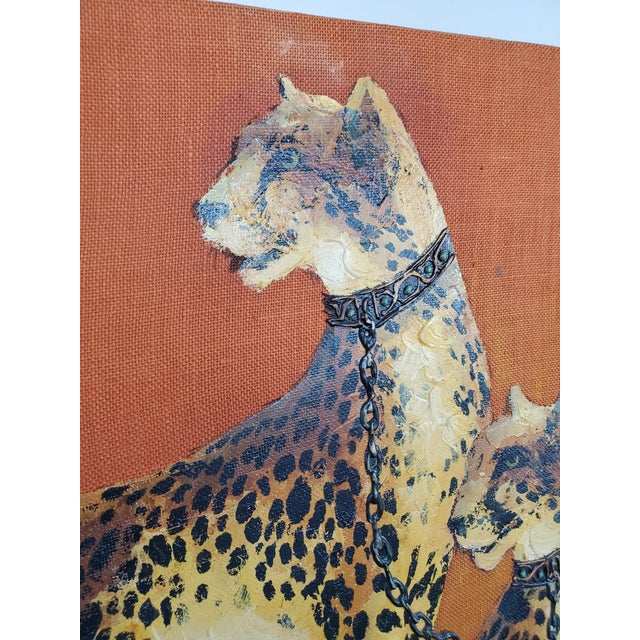 1970s Mid-Century Modern Roman Cheetah Oil Painting on Burlap Canvas by Wyman For Sale - Image 4 of 13