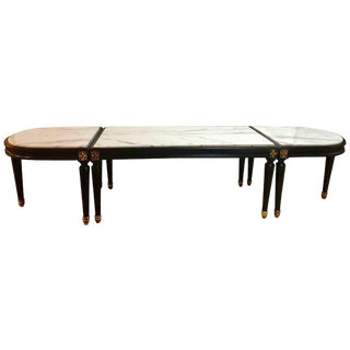 Louis XVI Style Inset Marble-Top Three-Piece Coffee Table, Maison Jansen Manner For Sale