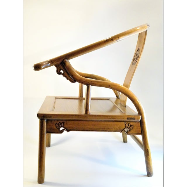 Vintage Chinese Horseshoe Elm Wood Chair For Sale In Seattle - Image 6 of 13