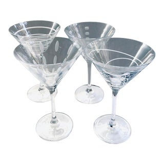 Etched Martini Glasses, Set of 4 For Sale