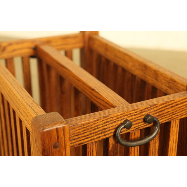 Wood Mission Style Solid Oak Magazine Stand For Sale - Image 7 of 12