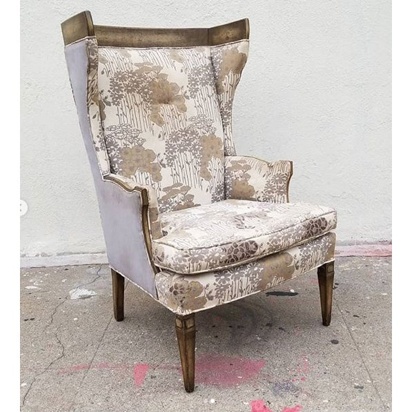 1960s Vintage Custom Upholstered Monumental Wingback Chair For Sale - Image 9 of 10