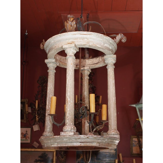 Large French and Iron Wood Painted Lantern For Sale - Image 10 of 10