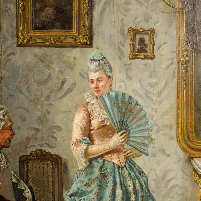 "Victorian Mid 19th Century ""Ladies Charm"" Figurative Victorian Oil Painting by Eduard Merk For Sale - Image 3 of 11"