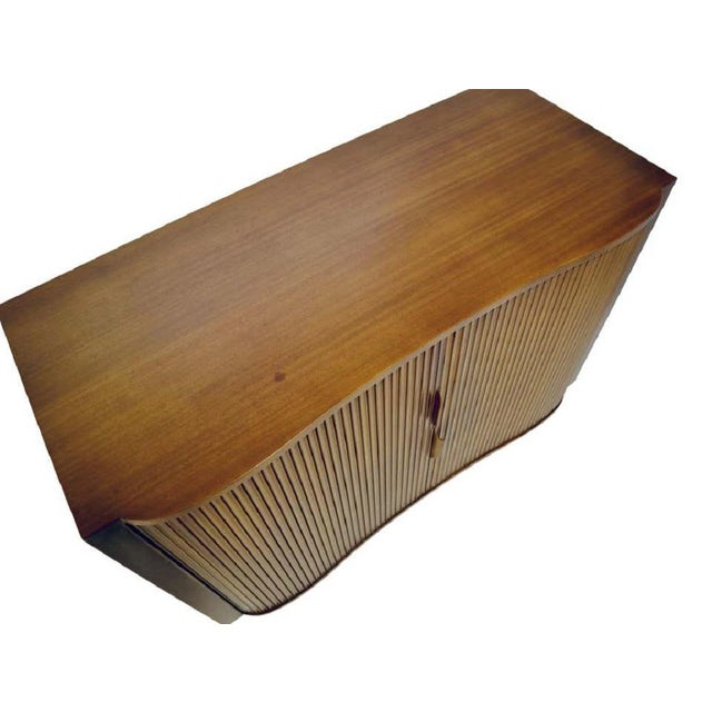 Metal 1950s Dunbar Mister Chest With Tambour Doors by Edward Wormley For Sale - Image 7 of 10