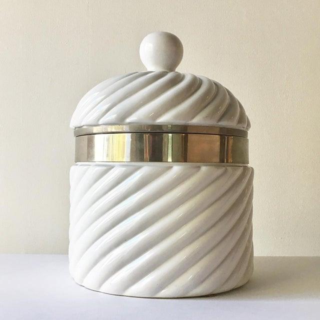 Tommaso Barbi Designed Ceramic Rope Ice Bucket Italy 1970s For Sale - Image 4 of 4