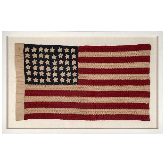 Small Vintage Hand Crocheted American Flag For Sale - Image 12 of 12