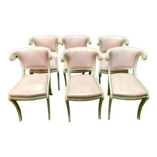 Hollywood Regency Pink Leather Chairs, Set of 6 For Sale