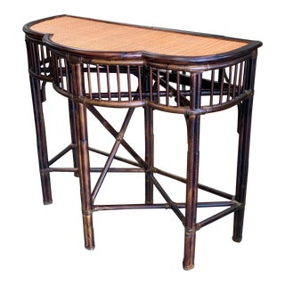 Palecek Bamboo/Rattan Demi Lune Entry Table For Sale