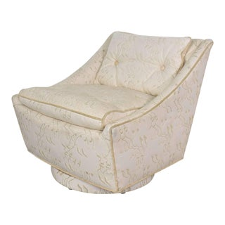 Vintage Art Deco Petite White Swivel Chair With Embroidered Leather by Oxford Ltd. For Sale