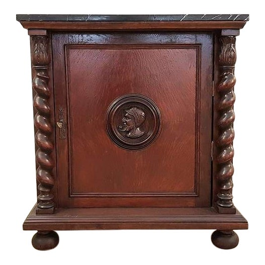 French Louis XIII Style Early 20th C. Confiturier Cabinet Cupboard With Single Door and Marble Top For Sale