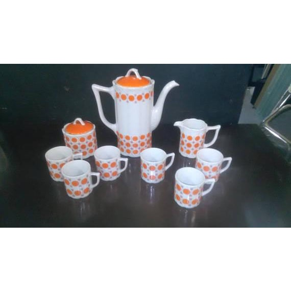 Vintage Mid-Century Japanese White & Orange Porcelain Tea Set - 9 Pc. - Image 8 of 8