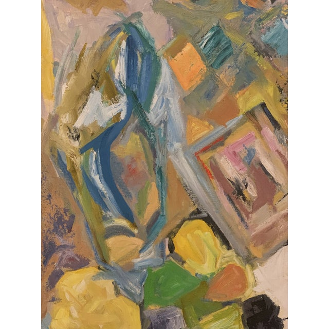 Abstract Mid Century Modern Abstract Art of a Female Original Oil on Canvas Signed Bender For Sale - Image 3 of 7